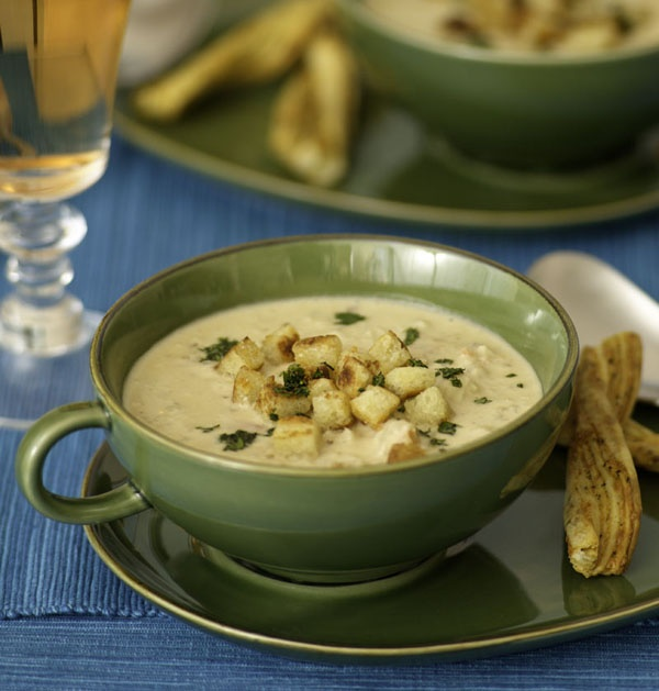 Cream of Mushrooms. #fingerfood #shopfestaCrabs Bisque, Elegant Fingerfood, Creamy Soup, Parmesan Croutons, Elegant Small, Appetizers, Creamy Comforters, Cream Of Mushrooms, Parties Inspiration
