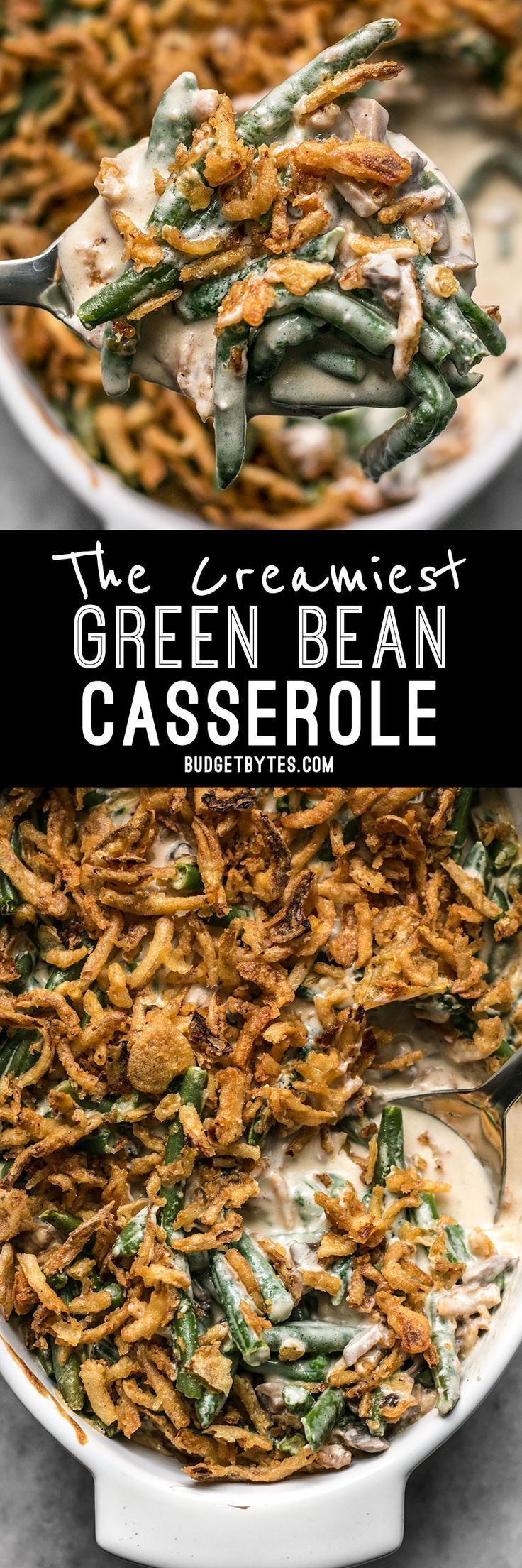 "This is the Creamiest Green Bean Casserole you'll ever make with no ""cream of"" soups. The ingredient list is short and simple, but flavors are classic and comforting."