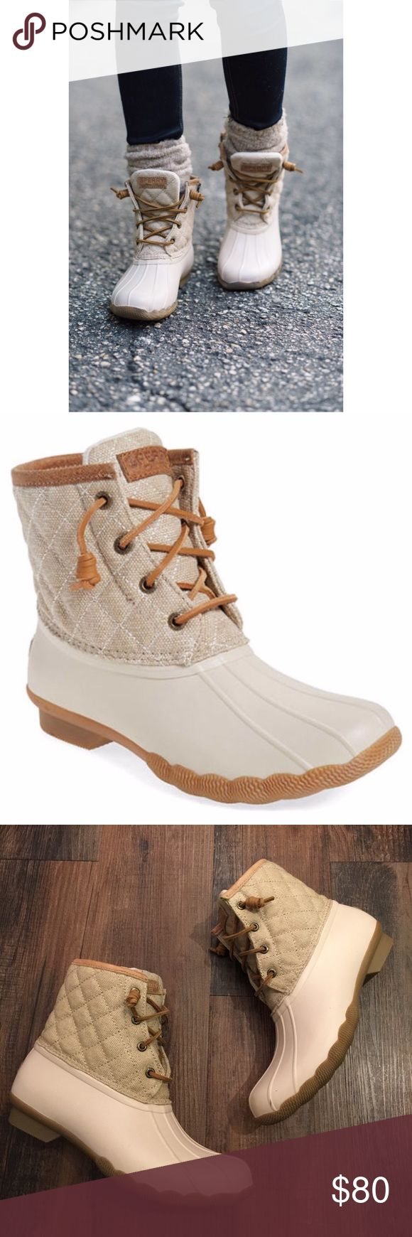 "Sperry Top Sider Waterproof Duck Boots Sperry Top Sider Cream and Tan Waterproof Duck Boots.  Quilted shaft,  3.46"" shaft height.  Round toe. Side zipper closure.  Small marks from storage/ shoes are NWOT. Sperry Top-Sider Shoes Winter & Rain Boots"