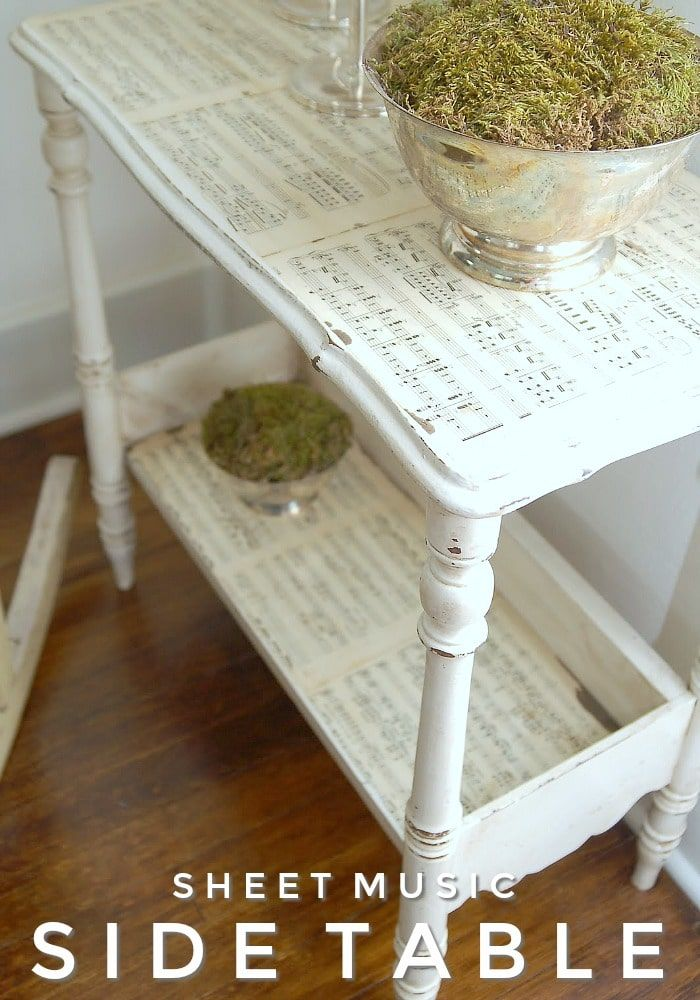 An old side table given a second life with some paint and sheet music! #furniture #sidetable #sheetmusic