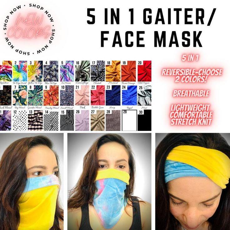 Neck Gaiter Face Mask Reversible 5in1 MultiUse Neck Scarf