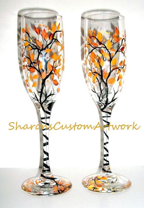 Handpainted Champagne Flutes Fall is in the Air Hand Painted Set of 2   Fall Wedding,  Fre... $40