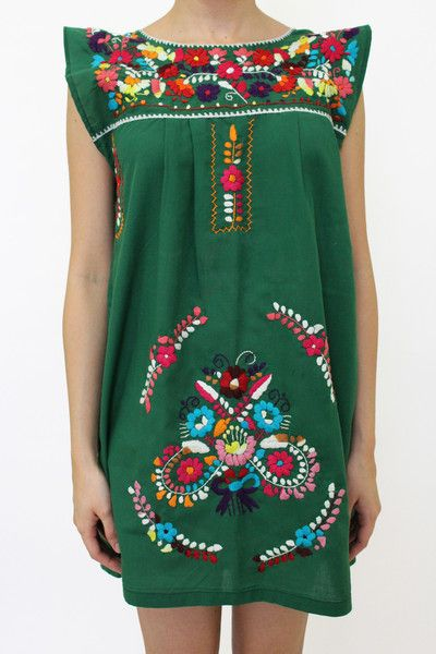 Summer Outfits - Green Handmade Dress with Colourful Embroidery - available at azucarmaria.com