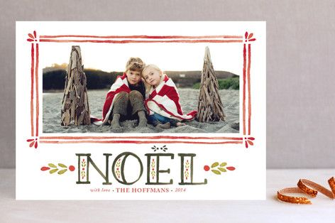 Watercolor Noel Christmas Photo Cards by Annie Mertlich at minted.com