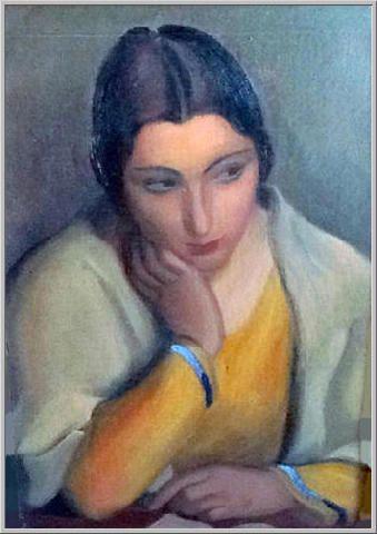 Mario Tozzi 1925: Malinconia (Studio - Mezza figura). Olio su Tela cm.55x38 - Collezione Privata Milano - Archivio numero 1089 - Catalogo Generale Dipinti numero 25/7.