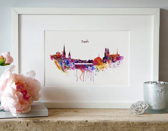 Zurich Watercolor Skyline Silhouette Wall art by Artsyndrome
