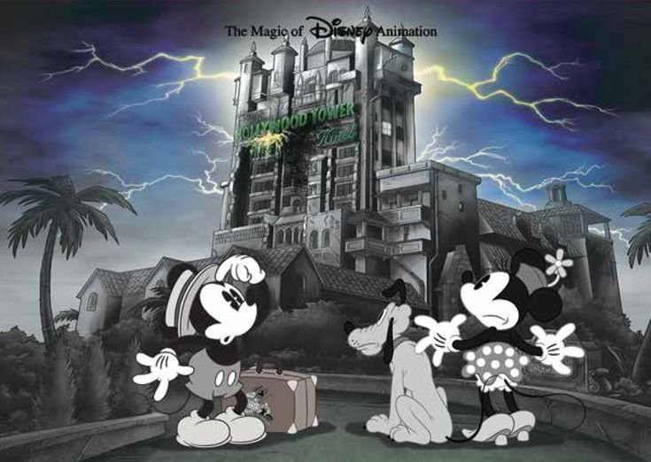 Mickey, Pluto, and Minnie in front of The Twilight Zone Tower of Terror
