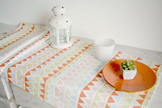 Chevron table runnerl geometric table runner by acountrystory