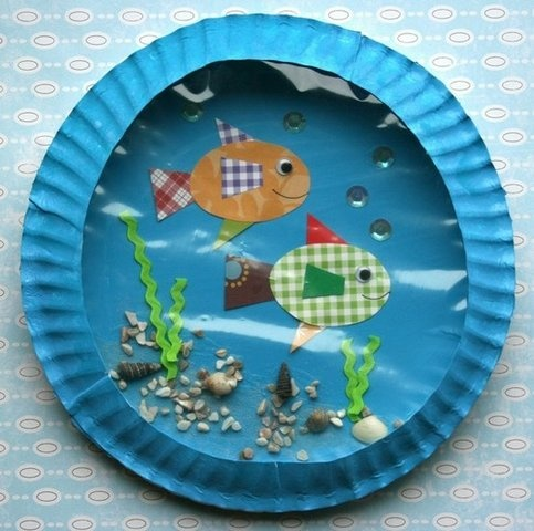 Craft for Kids - Paper aquarium for kids (бумажный аквариум для детей)