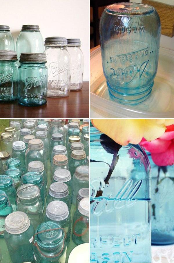 DIY Antique Blue Mason Jars.: Ball Jars, Antiques Mason, Blue Mason Jars, Blue Jars, Diy'S Blue, Color Mason Jars, Diy'S Antiques, Antiques Blue, Tint Jars