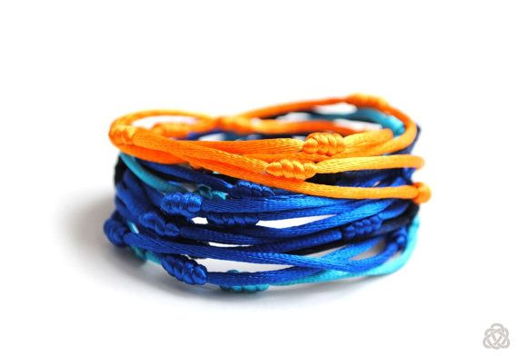 Multistrand satin knotted cords double wrap by elfinadesign