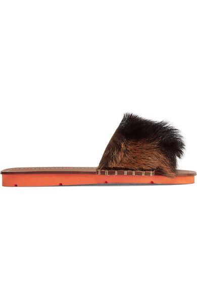 Prada - Goat Hair-trimmed Leather Slides - Brown - IT35.5