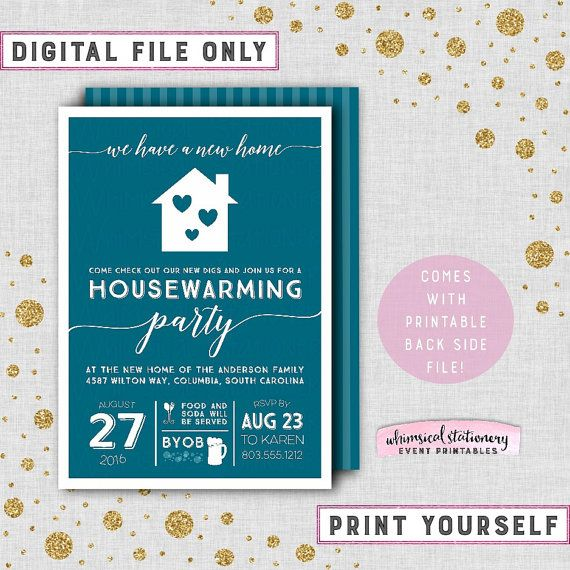 ♥ Housewarming Party Invitation - Cobalt Blue ♥  Show off your new place with our beautiful Cobalt Home printable housewarming party