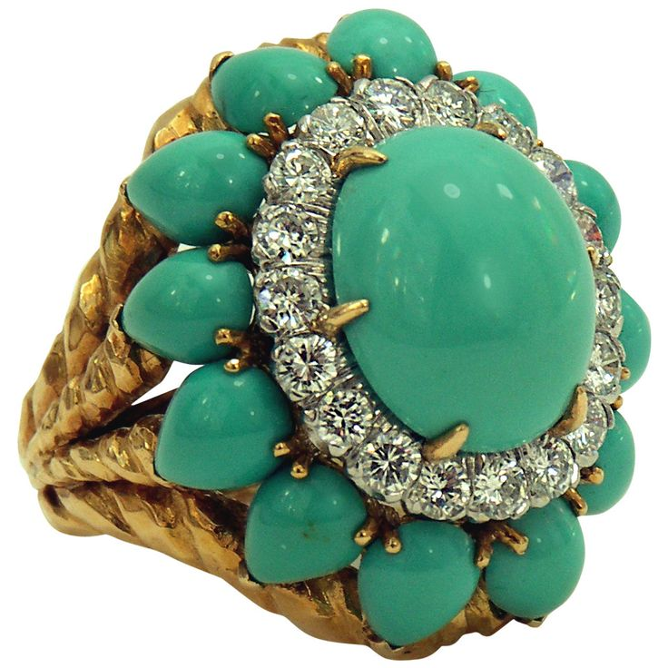 Turquoise Diamond Gold Ring.
