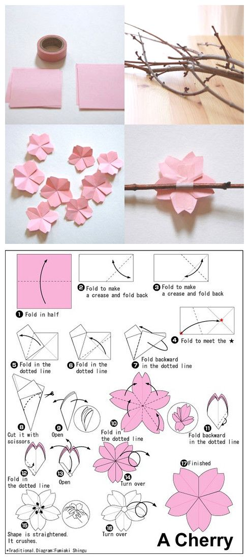 how to fold a cherry blossom, origami via duitang.com