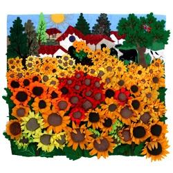Sunflower Fields, 20x17. 3-D Arpillera quilt from Peru