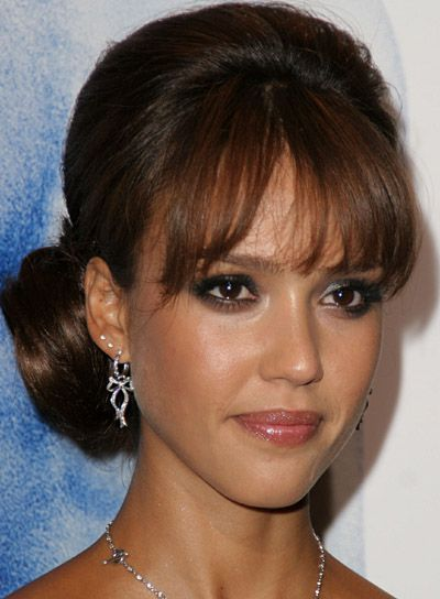 fringe bangs wedding | Jessica Alba's sophisticated, voluminous off-center chignon is ...