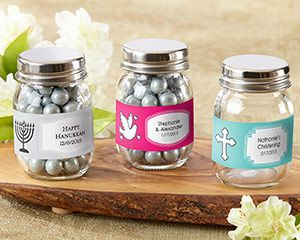 Kate Aspen's Mini Mason Jars are a tiny twist on a trend we love! Personalize each favor jar for your religious event, milestone, or holiday and fill it with candy or cocoa. Whether celebrating a Bar or Bat Mitzvah, Baptism, Christening, or First Communion, there are design options for all.