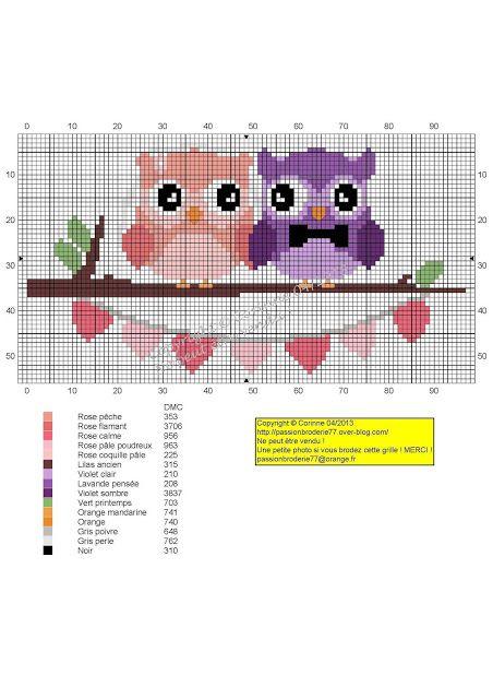Χειροτεχνήματα: σχέδια με κουκουβάγιες σταυροβελονιά / cross stitch owls