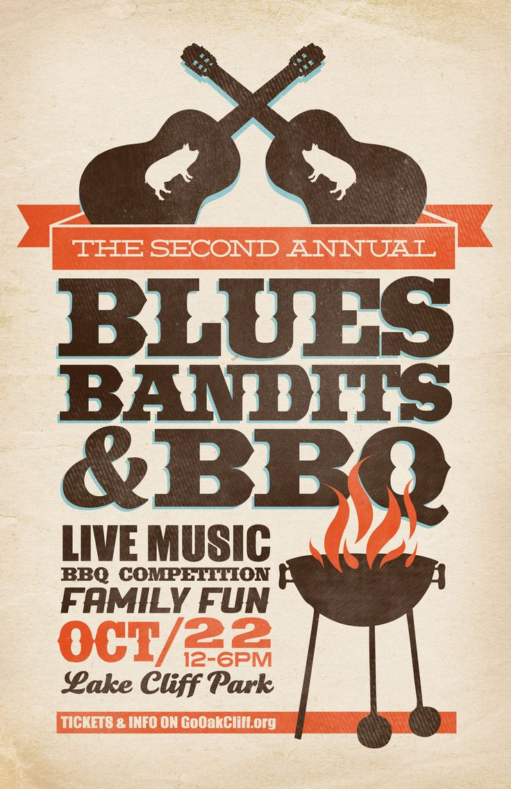 Poster design pinterest - Blues Bandits Bbq Poster