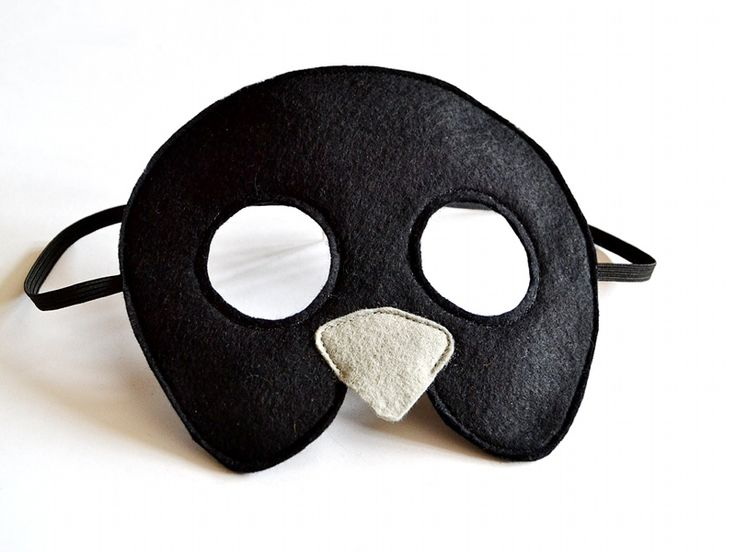 Bird mask in black for children. Bird mask for kids. It makes a great mysterious black mask for Carnival or Halloween.