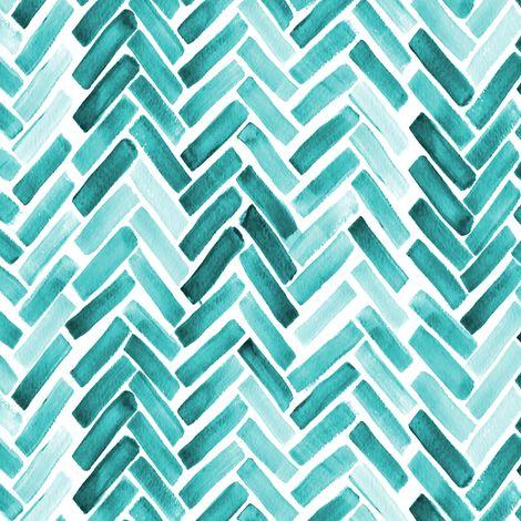Mint herringbone watercolor fabric by mrshervi on Spoonflower - custom fabric