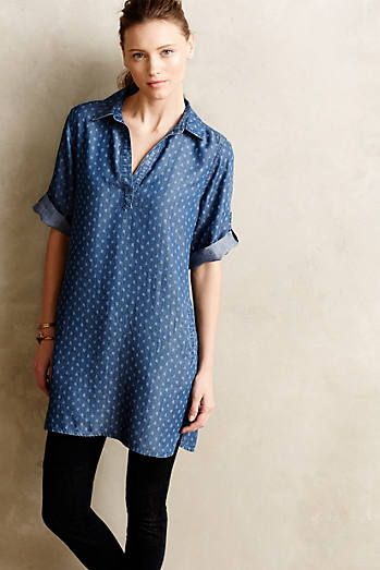 Diamond-Dot Chambray Shirtdress