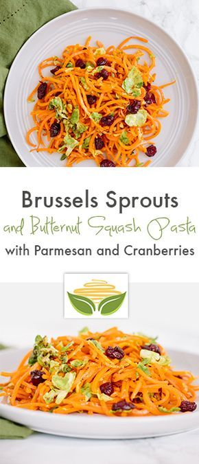 Brussels Sprouts and Butternut Squash Pasta with Parmesan and Cranberries