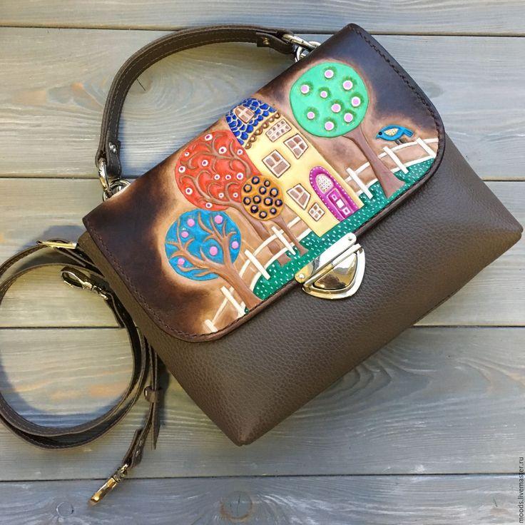 Купить Женский портфель ручной работы. натуральная кожа - сумка с тиснением, сумка с рисунком
