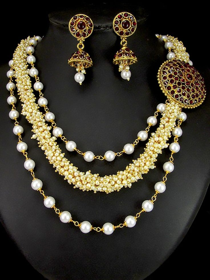 Meritorious diamantes studded #Necklace with pearls work. Item Code : JPD82164 http://www.bharatplaza.com/new-arrivals/jewellery.html