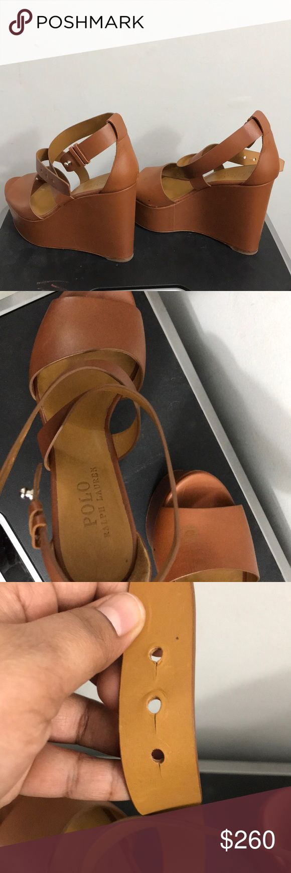 """Polo Ralph Lauren wedge Heels Worn a couple of times but still looks veery nice! Have shown all the flaws in the pictures, consider pictures as a part of description! Approximately 5"""" Polo by Ralph Lauren Shoes Wedges"""