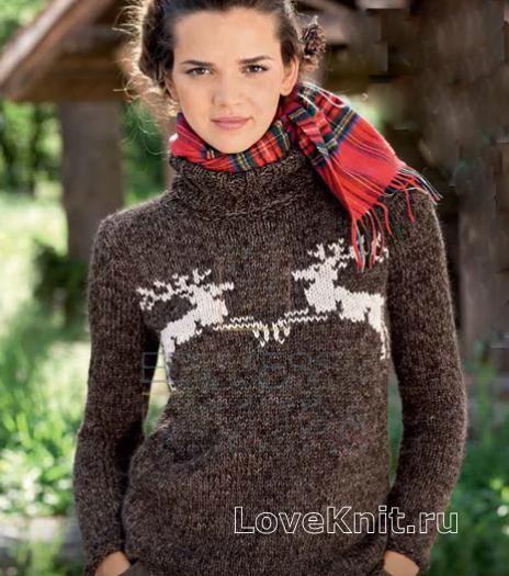 Коричневый свитер с оленями схема Схемы вязания спицами » Люблю вязать