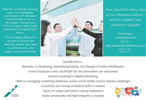 OPEN!  #vacancy as Digital Marketing Strategy Leader from Mandom Indonesia >> http://bit.ly/2u8ysib   DEADLINE: 26 July 2017 #itbcc #karirITB #ITBcareer