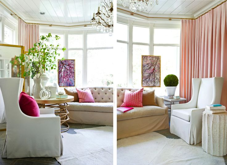 Romantic Living Room White Pink Green Chandelier Gold Accents Melanie Turner Interiors