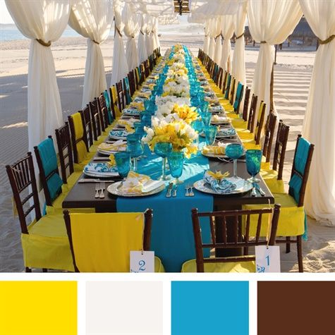Yellow, White, Sky Blue, Brown Color Palette. like the color choices but with lighter yellow and black instead of brown