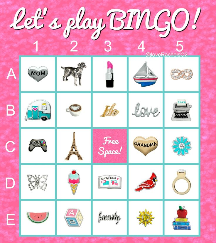 Origami Owl Bingo with current charms for spring 2016. Want to see more current pieces? Visit www.facebook.com/origamiowlbyrachelbalint