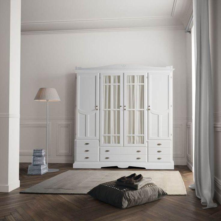 Armario decco 4 puertas blanco tosca lacado armarios de for Armario de dormitorio blanco barato