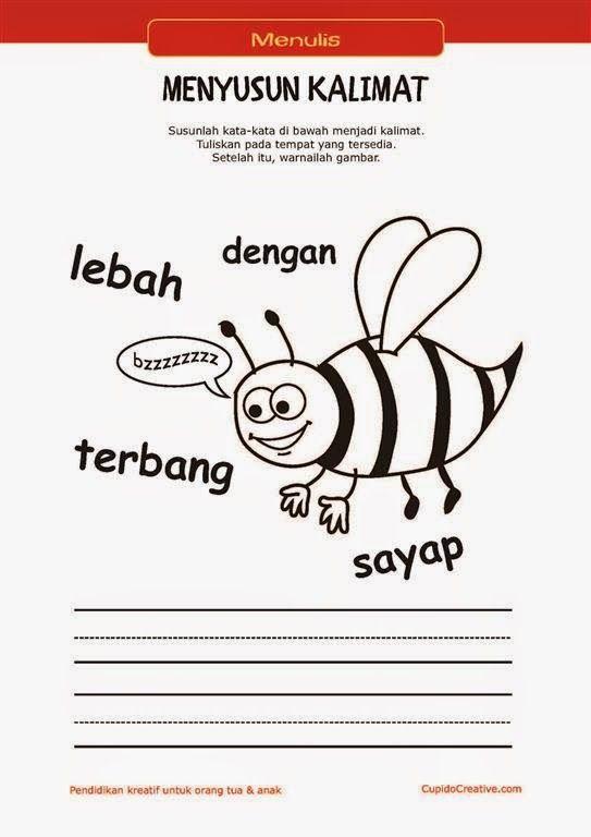belajar membaca & menulis anak TK/SD, menyusun kata menjadi kalimat & mewarnai gambar lebah