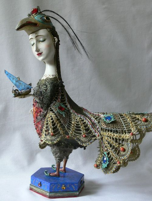 art doll: Angel, Artdol, Foreign Language, Woman Dolls Crochet, The Artists, Birds Girls, Altered Art Dolls, Dolls Altered Assembl, Birds Woman