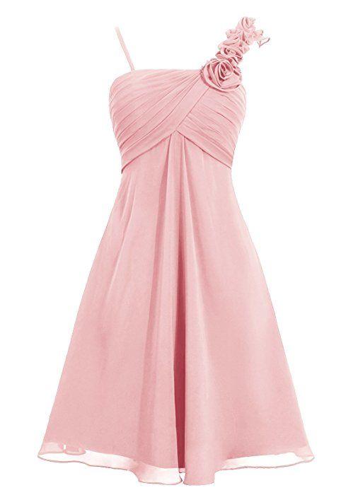 Dresstells, robe courte de demoiselle d'honneur mousseline bretelles spaghetti une ligne avec fleurs, Corail Taille52