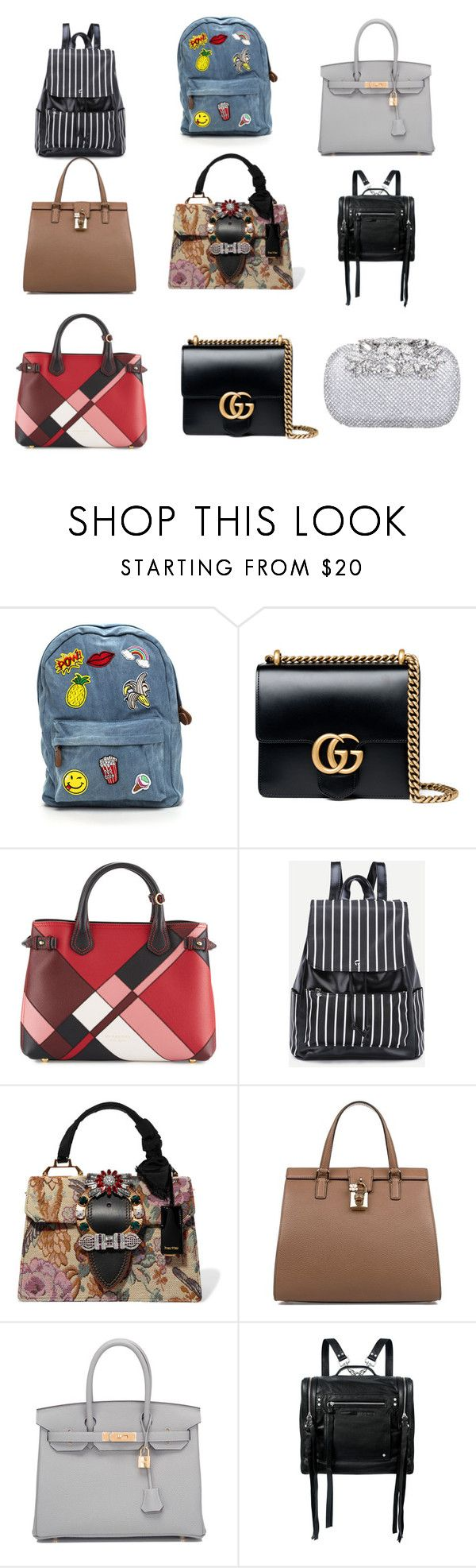 """BAGS"" by nurzarmina on Polyvore featuring Gucci, Burberry, Miu Miu, Dolce&Gabbana, Hermès and McQ by Alexander McQueen"