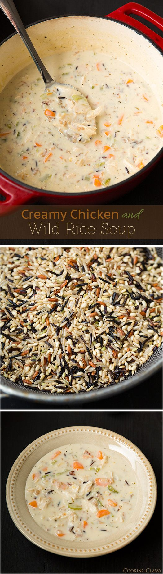 Creamy Chicken and Wild Rice Soup -creamy and delicious says pinner. I used only thyme and rosemary, but will decrease each next time. I also used an Uncle Ben's wild rice mix and subbed non-fat half & half for the heavy cream. Good but nothing special. I will be trying some of the other dozen wild rice soups on my Pinterest Good Eats board before settling on this one.