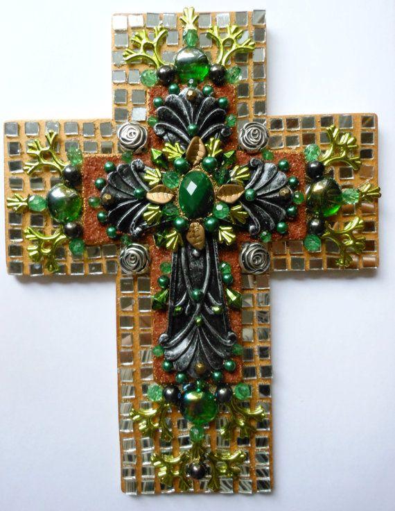 Искусство крест использованы День Святого Патрика, смешанная техника найденный объект зеркало собрана из бисера ручной росписи декоративных стеновых крест Рождественский подарок