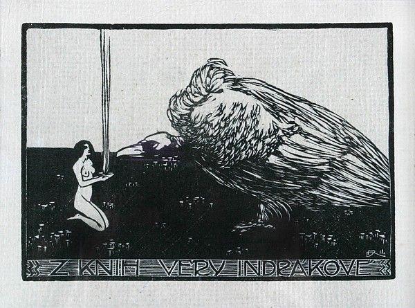 František Kobliha Dívka a dravec dřevoryt / woodcut, 9,5 x 14 cm, 1911