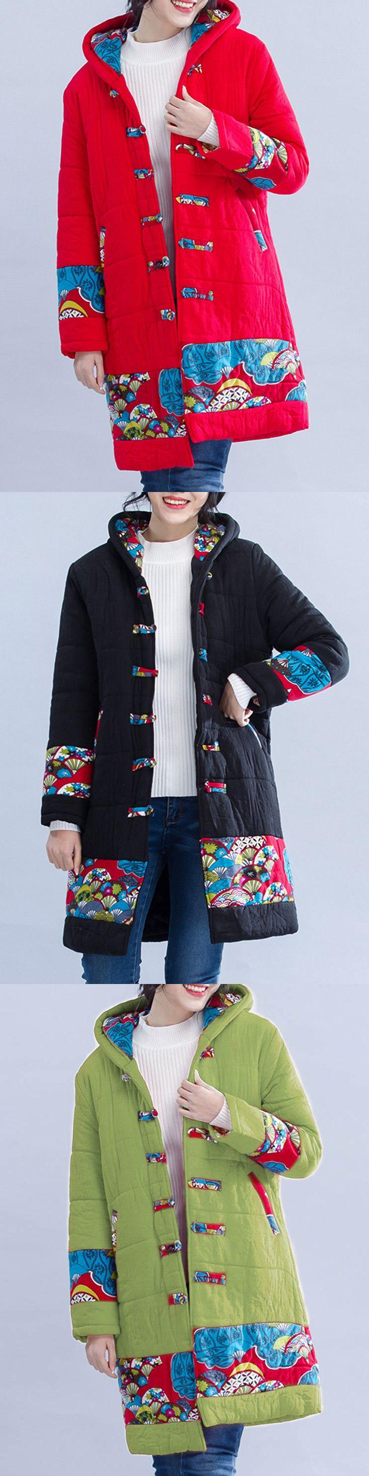 O-NEWE Vintage Printed Chinese Frog Long Sleeve Hooded Coat #fashion #style #coat #winter