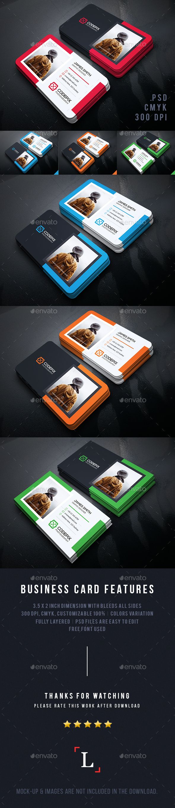 Personal Photography Business Card — Photoshop PSD #simple #dark • Available here → https://graphicriver.net/item/personal-photography-business-card/13746752?ref=pxcr