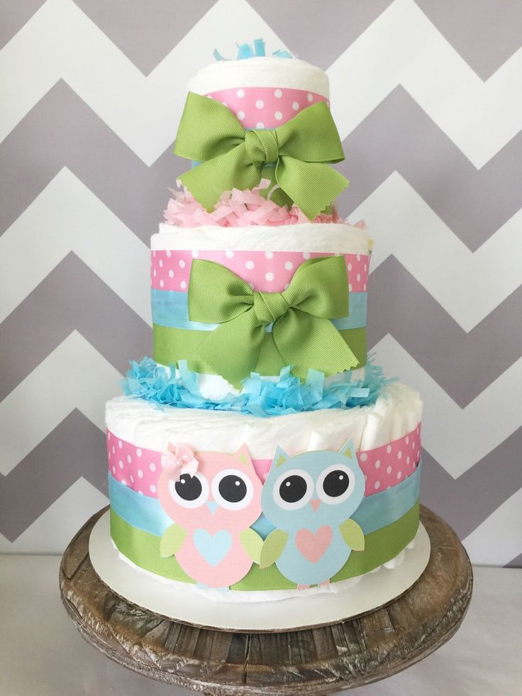 Delightful Owl Diaper Cake For Twins, Gender Reveal Centerpiece, Owl Baby Shower  Decoration By AllDiaperCakes