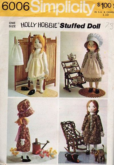Holly Hobbie Stuffed Doll 1970s Simplicity Sewing Pattern Toy Dolly Clothes Dress Bonnet Rag Doll Wardrobe