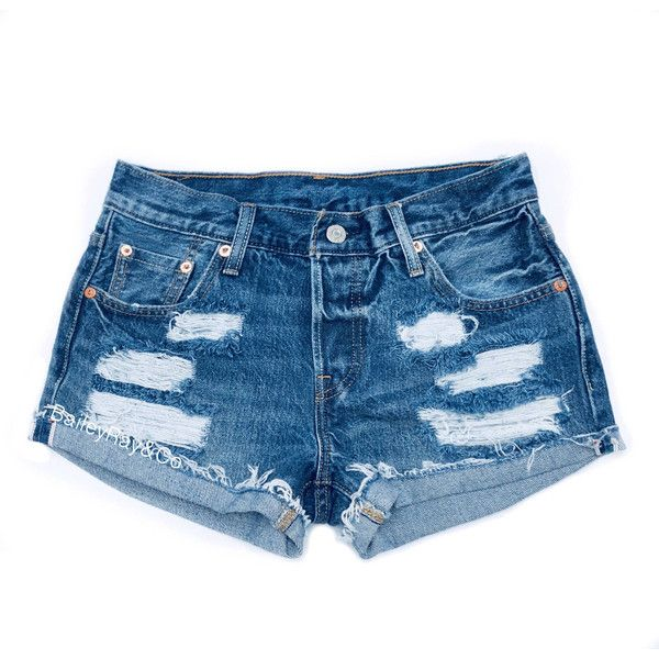 Levis Shorts High Waisted Cutoffs Denim Cheeky All Sizes Xs S M L Xl... (140 PEN) ❤ liked on Polyvore featuring shorts, grey, women's clothing, short denim shorts, high rise denim shorts, ripped denim shorts, cut off jean shorts and vintage high waisted shorts