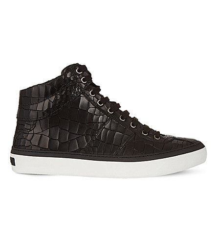 JIMMY CHOO Belgravi croc-effect leather high-top trainers. #jimmychoo #shoes #trainers